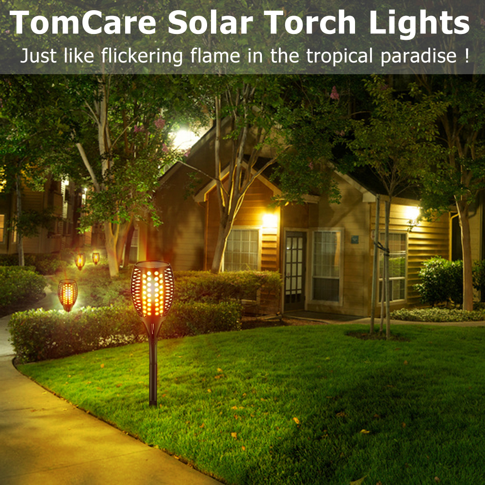 TomCare Solar Lights, Waterproof Flickering Flames Torches