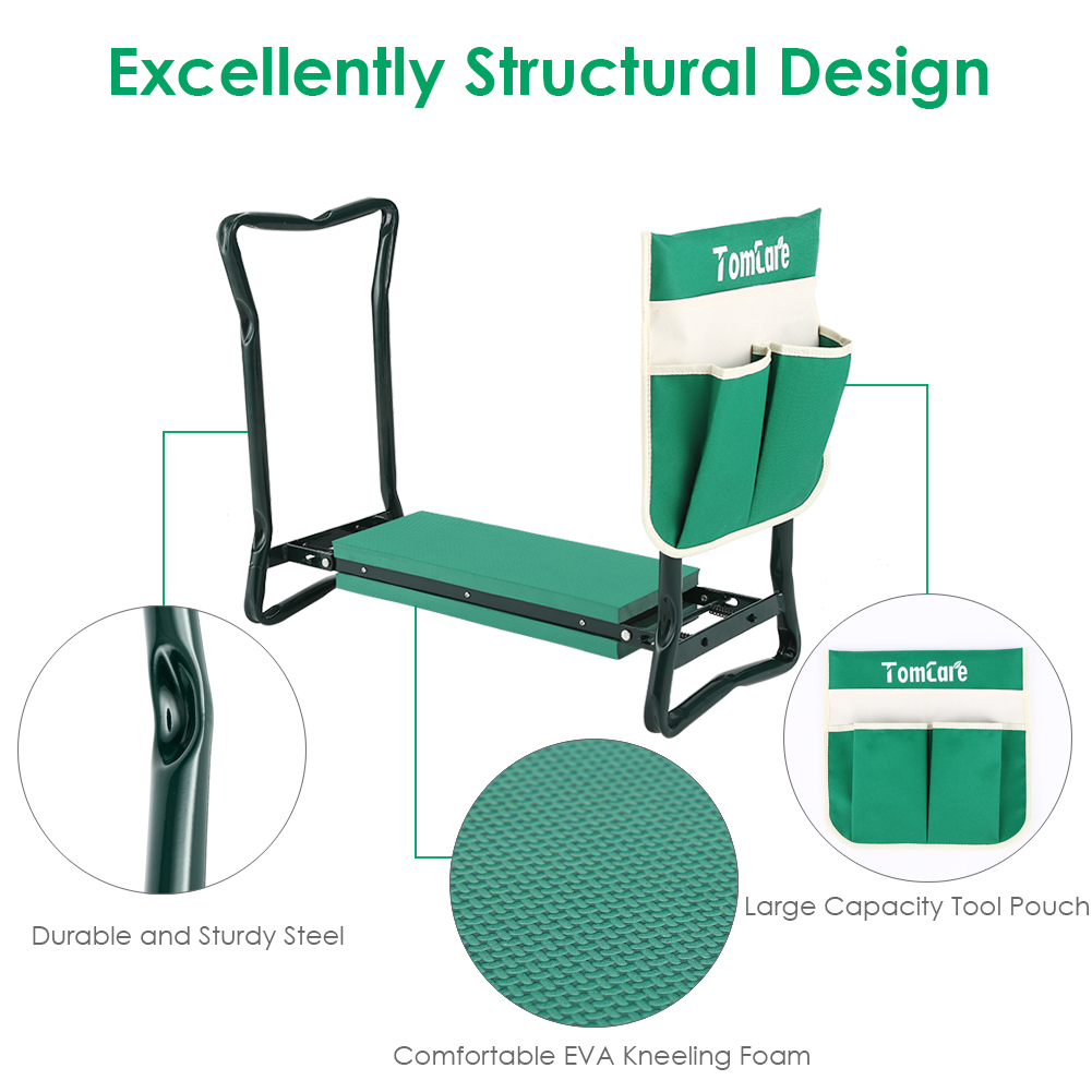 "TomCare Garden Kneeler Seat Garden Bench Garden Stools Fordable Stool with Tool Bag Pouch EVA Foam Pad Outdoor Portable Kneeler for Gardening(Large-21.65"" x 10.62"" x 18.89"",Green)"