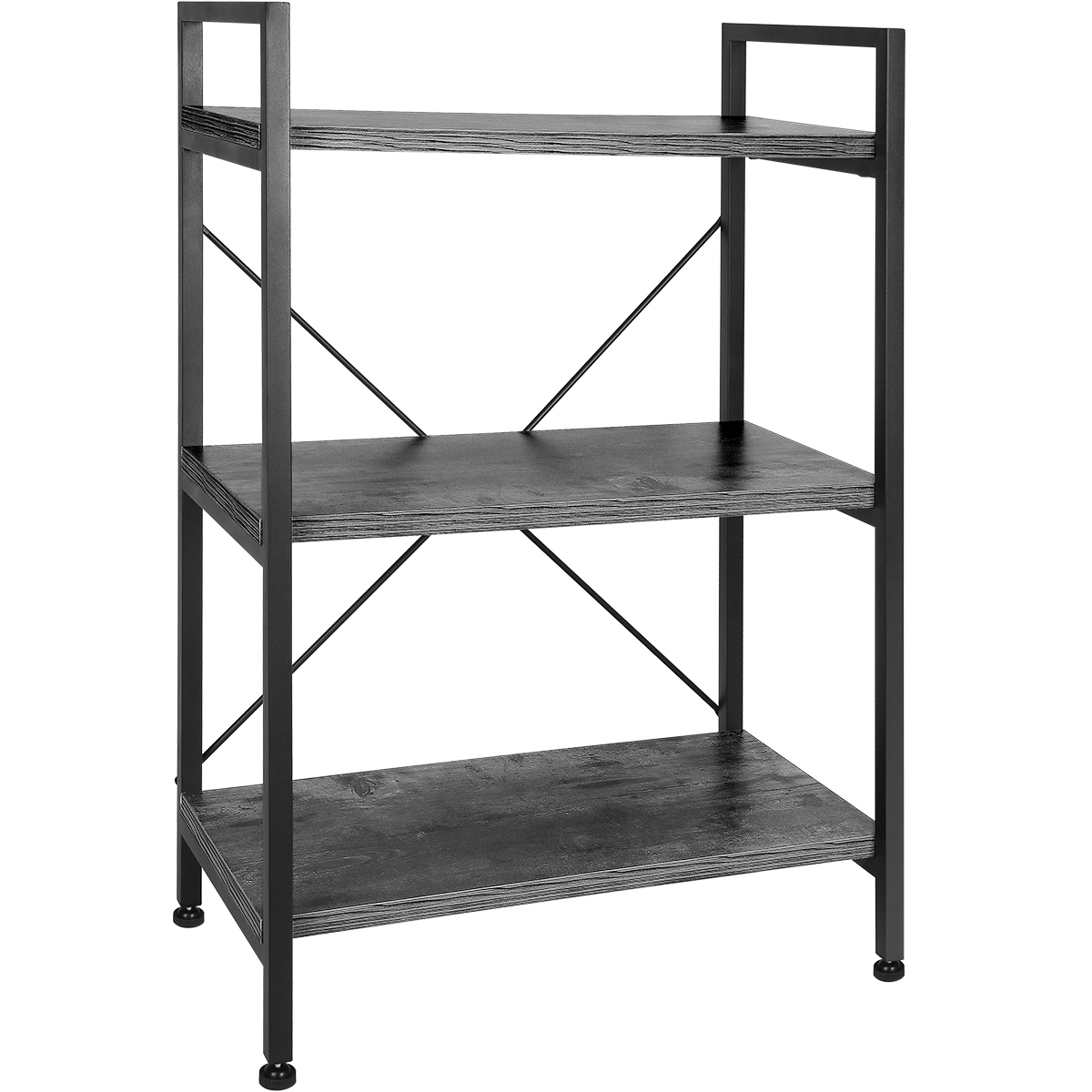 TomCare Bookshelf 3-Tier Bookcase Book Shelf Shelves Display Rack Office Storage Wood Look with Metal Frame Multifunctional Furniture for Entryway Living Room Bedroom Grey