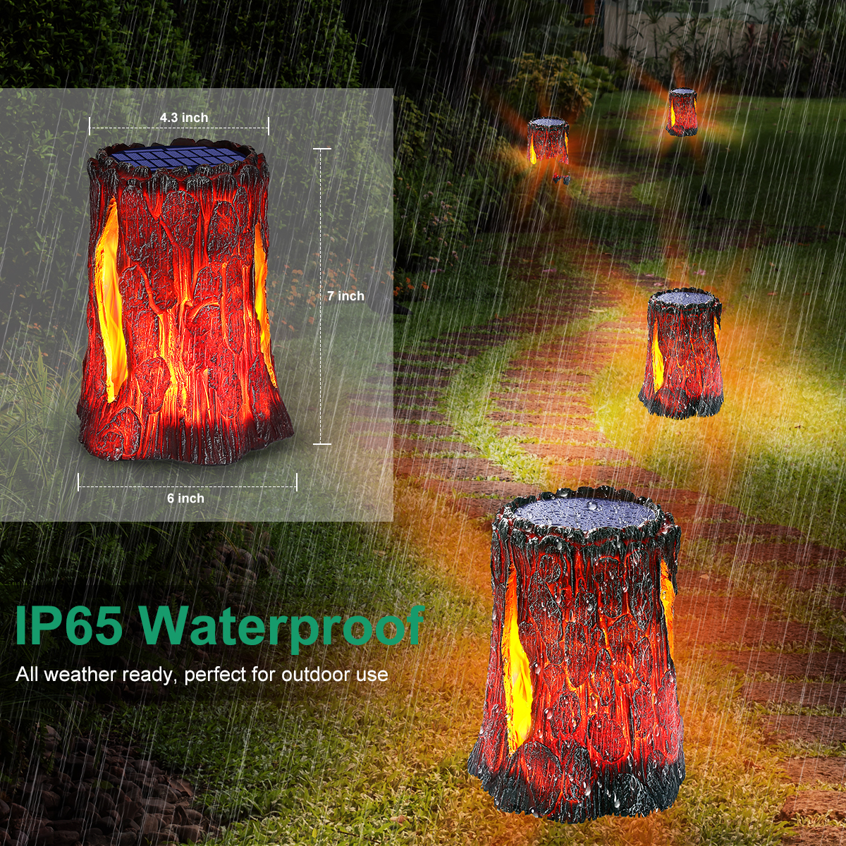 TomCare Solar Lights Outdoor Flickering Flame Stump Lights Outdoor Solar Lights Decorative Waterproof Solar Lantern Solar Powered Patio Lights Decoration Lighting for Deck Yard Garden Porch, 2 Pack