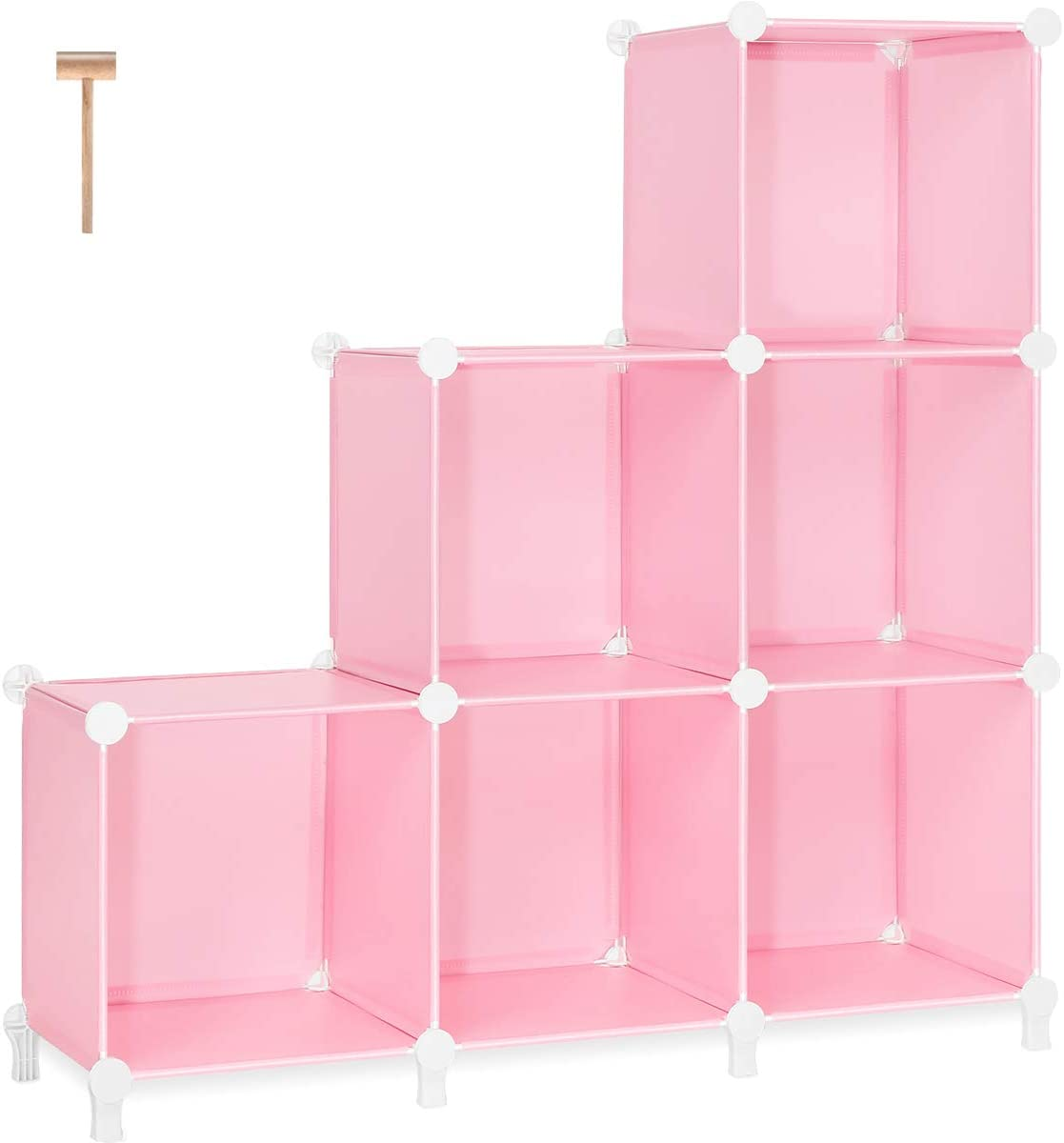 TomCare Cube Storage 6-Cube Closet Organizer Storage Shelves Cubes Organizer DIY Bookshelf Bookcase Plastic Cube Shelf Clothes Storage Organizer Shelves for Bedroom Living Room Office, Pink