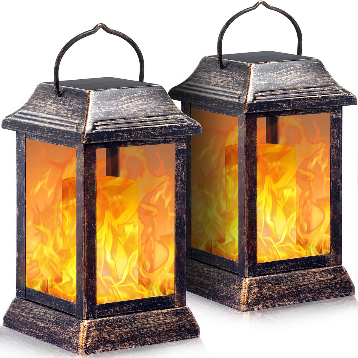 TomCare Solar lights Metal Flickering Flame Solar Lantern Outdoor Hanging Lanterns Lighting Heavy Duty Solar Powered Waterproof Umbrella LED Flame Lights for Garden Patio Pathway Deck Yard, 2 Pack